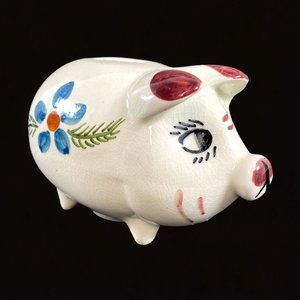 Small Vintage Ceramic Hand Painted Piggy Bank